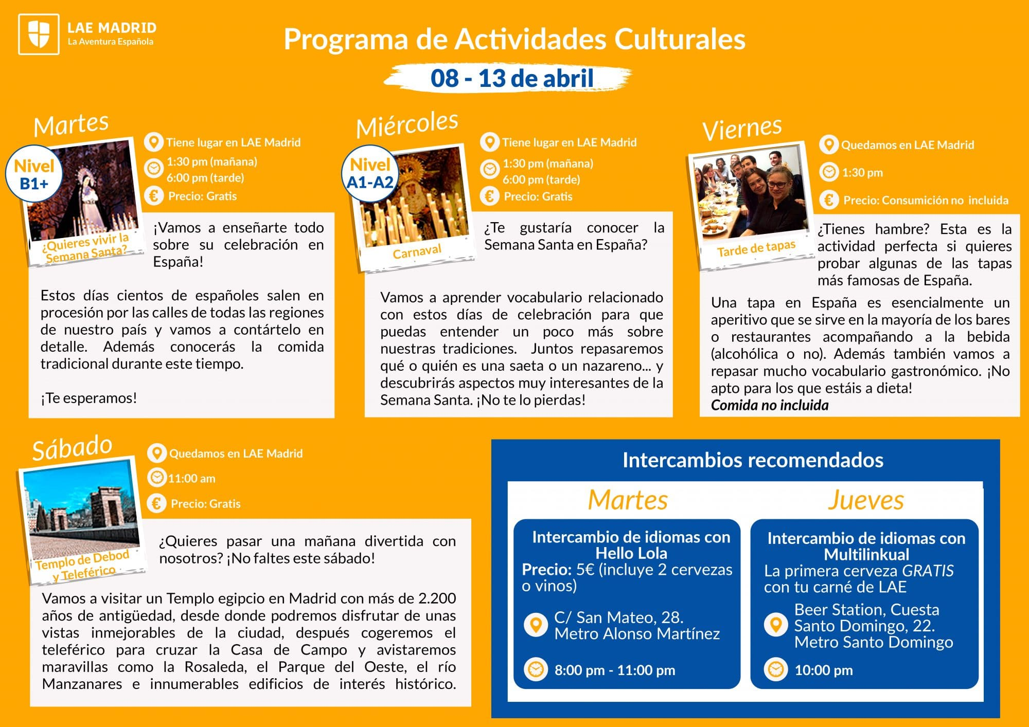 LAE Madrid Cultural activities 8-13 April 2019