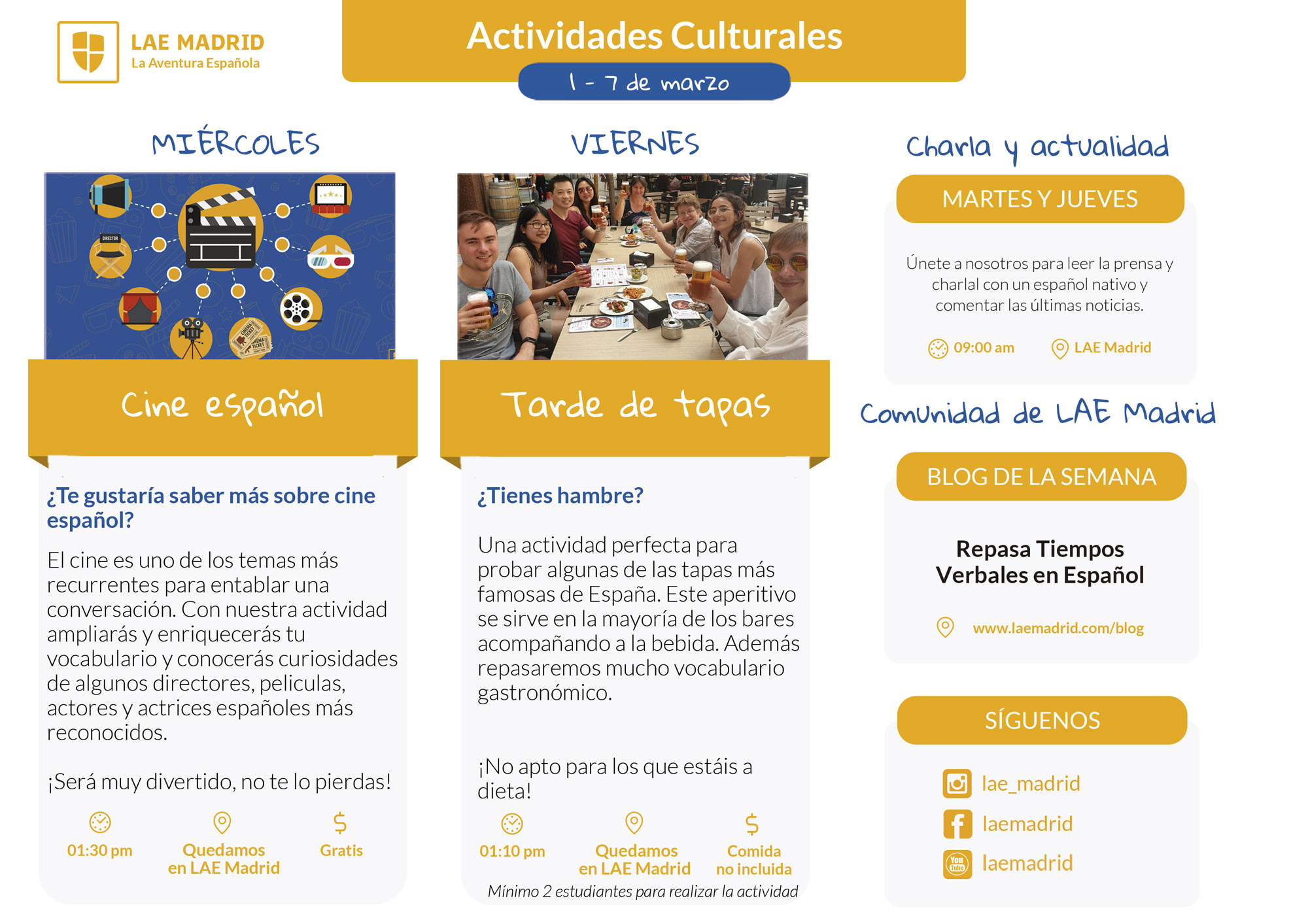 Spanish Classes - Cultural Activities 1 MARCH