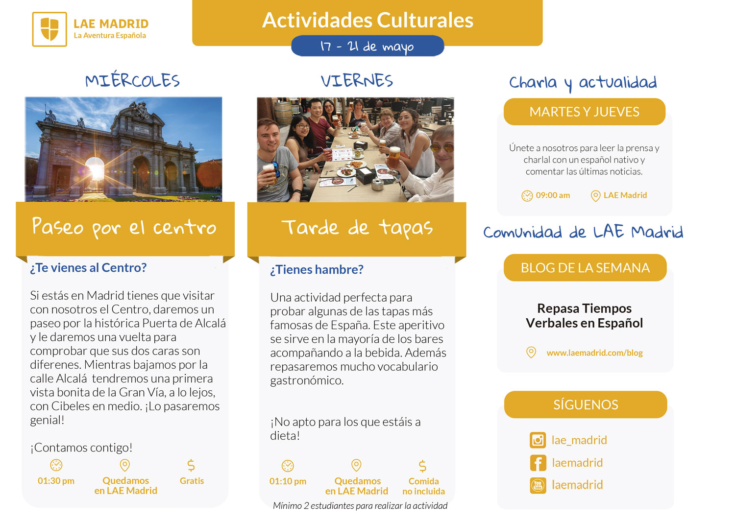 Spanish Classes - Cultural Activities-17-21